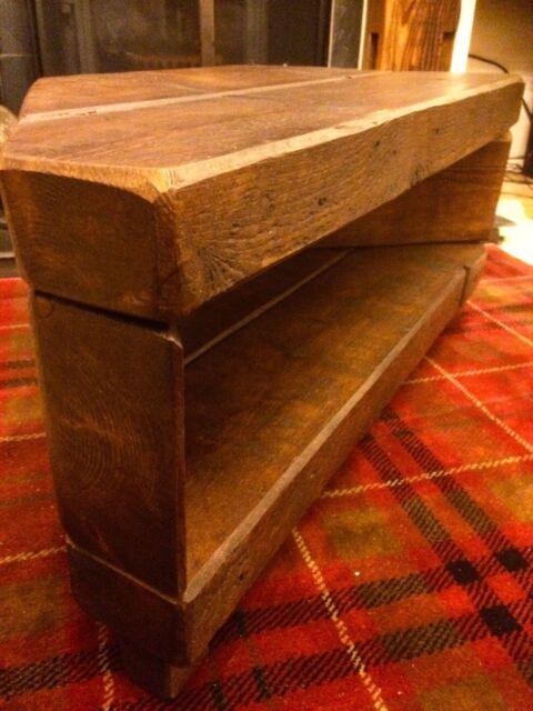 Corner Rustic Pine Tv Unit Solid Chunky Wood Stand Cabinet Dark