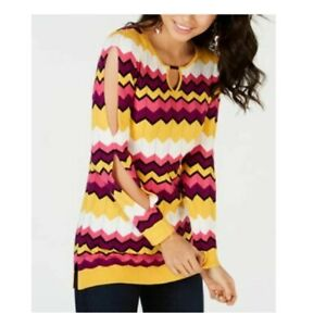 Thalia Sodi Women's Chevron Multi-Stripe Tunic Sweater Multi Size Extra Large