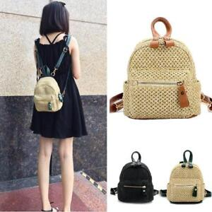 Image is loading Straw-Crochet-Convertible-Small-Mini-Backpack-Rucksack- Daypack- 64f88c469d9e6