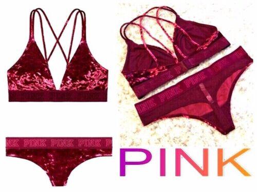 Details about  /VICTORIA SECRET PINK LOGO VELVET PANTY EXTRA LOW RISE THONG /& BRALLETTE M