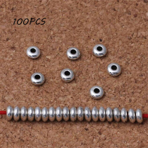 Wholesale 100Pcs Silver Stainless Steel Round Spacer Beads DIY Jewelry Making U