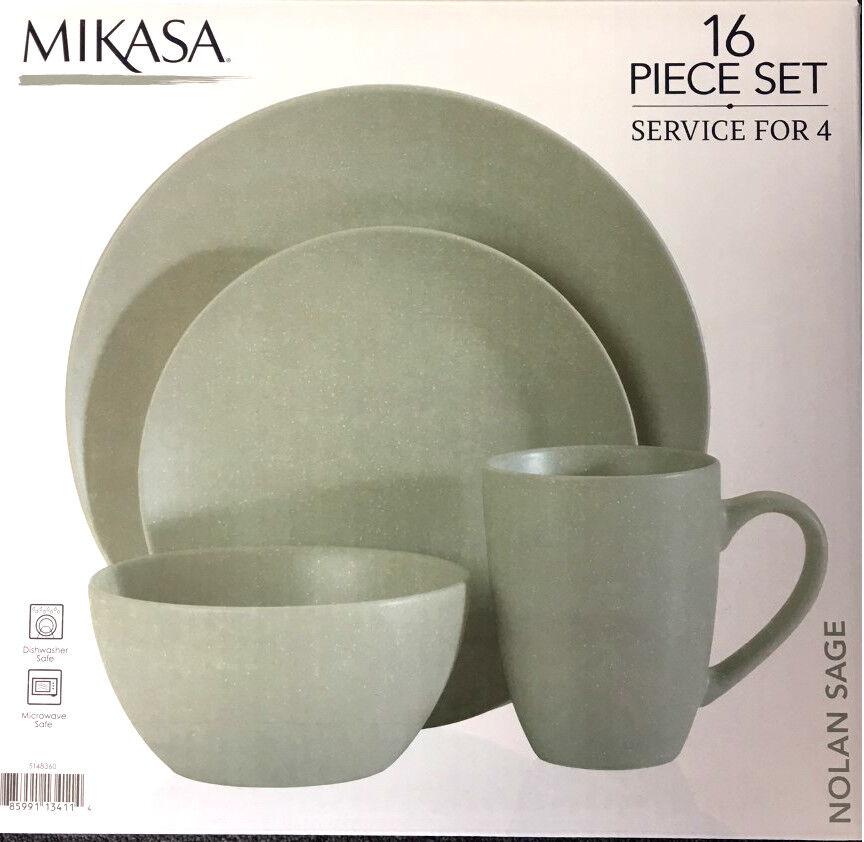 Mikasa 16 Pièce Dinnerware Set, service pour 4, Nolan SAGE