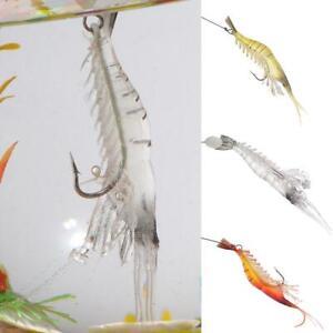 3PCS Luminous Soft Shrimp Hook Bait with Bead Prawn Lure Saltwater Fishing Lure