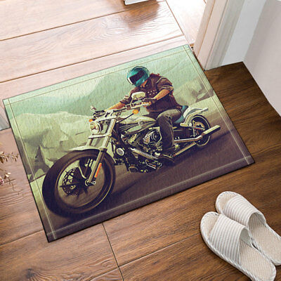 Old Motorcycle And Brick Wall Bathroom Rug Non-Slip Door Mat Flannel 16x24/""