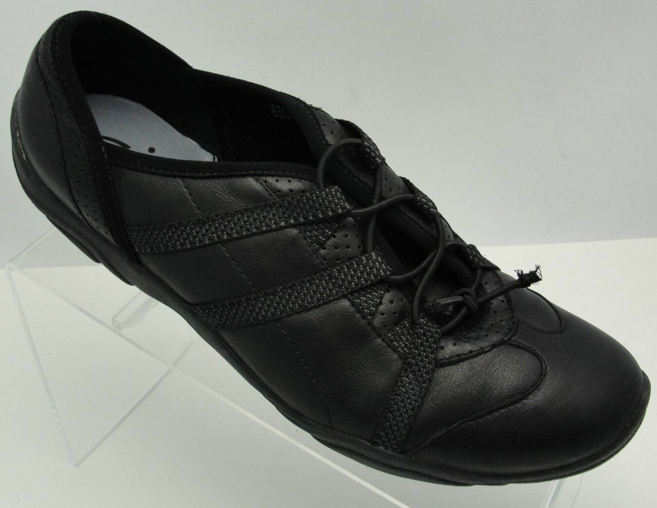 CLARKS negro LEATHER zapatillas WALKING COMFORT STRETCH STRETCH STRETCH WORK zapatos mujer SZ 9.5  venta caliente en línea