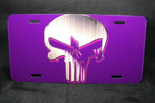 PUNISHER SKULL LICENSE PLATE TAG FOR CARS SUVS  BRIGHT ABSTRACT FINISH