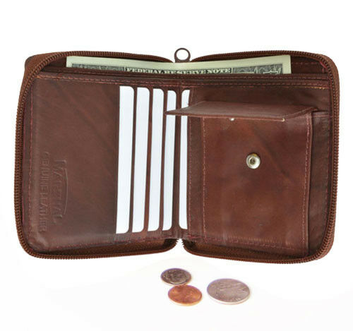 RFID Zip Around Leather Wallet Safe /& Secure BROWN Cards Coins ID Notes Gift BOX