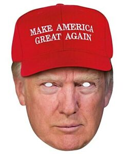 Donald Trump wearing MAGA Red Cap Celebrity 2D Card Party Face Mask US President