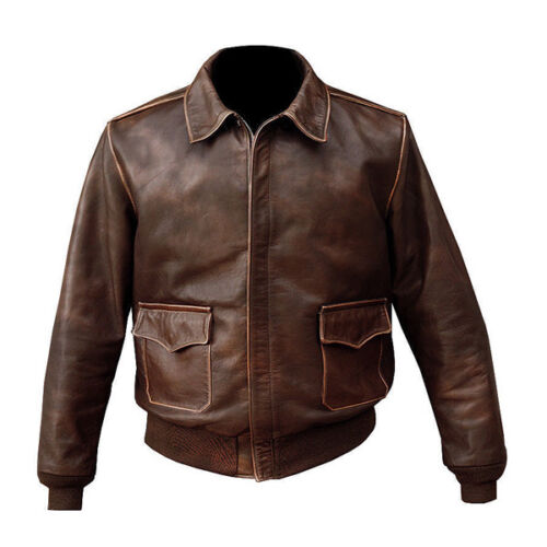 MEN'S A-2 AVIATOR  FLYING PILOT BOMBER DISTRESSED REAL LEATHER FLIGHT JACKET