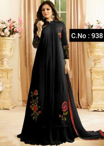 Pakistani style Anarkali Salwar Kameez Suit Indian Designer Salwar Kammez Black