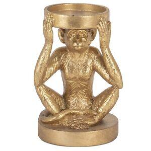 Golden-Monkey-Tea-Light-Holder-Gold-Candle-Pillar-19cm-Chimp-Ape-Animal-GIFT