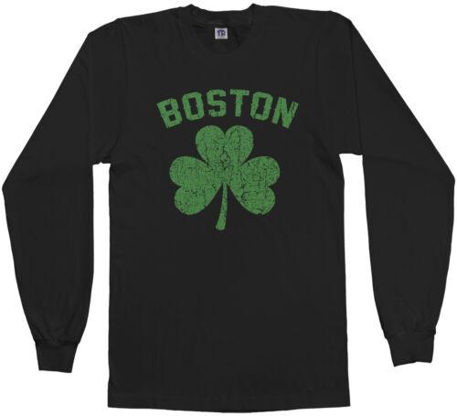 Green Threadrock Men/'s Boston Shamrock Long Sleeve T-shirt Irish Pride