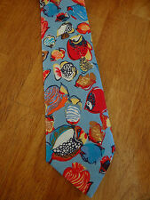 UNBRANDED ONE-OFF BOLD SNAZZY FISH PATTERNED WOVEN TWILL 100% LINEN TIE