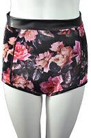 New Womens Black Floral Print Knicker Shorts Smart Shorts Hot Pants Size 8-14