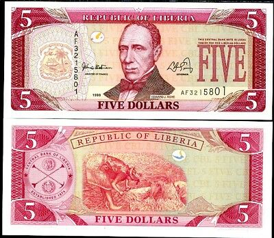 P 21   Uncirculated Banknotes LIBERIA 5  DOLLARS  1999  Prefix AF
