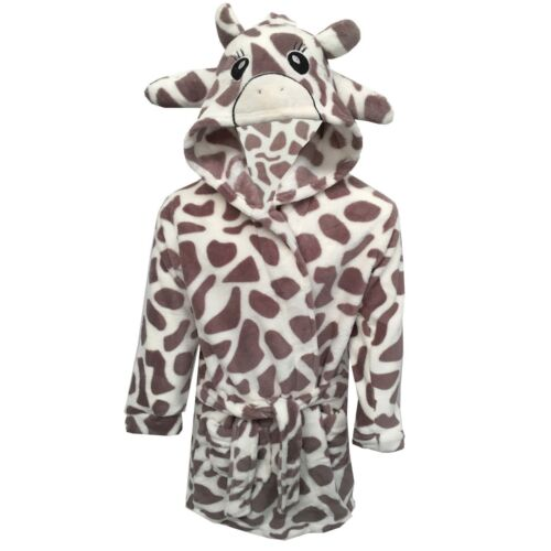 Boys Girls Bathrobe Kids Animal Giraffe Dressing Gown Fleece Nightwear
