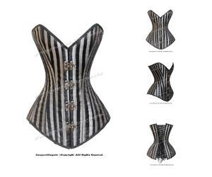 26 Double Steel Boned Waist Training Brocade Stripe Overbust Shaper Corset #8151