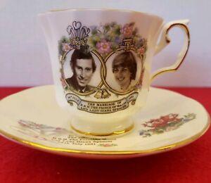 Elizabethan-Staffordshire-Prince-Charles-and-Lady-Diana-Teacup-amp-Saucer-England