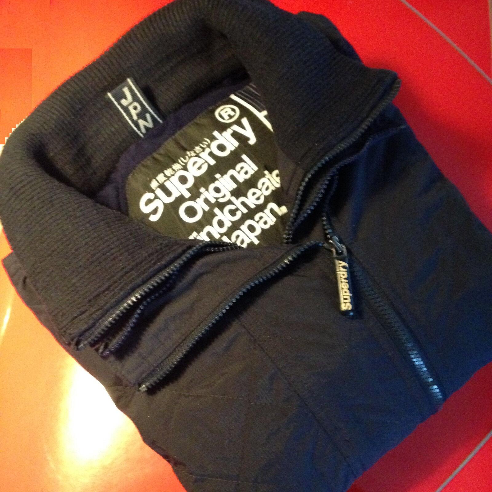 SUPERDRY giubbotto giacca in cotone foderata collo in lana veste aderente 52