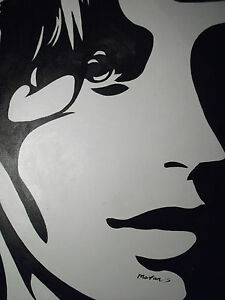 abstract black white pop art face portrait large oil painting canvas