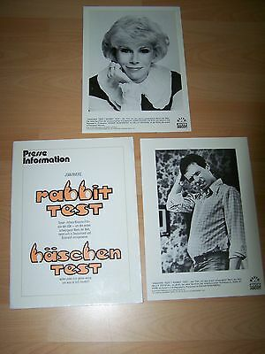 Presseheft ´78 Romantisch Rabbit Test Joan Rivers Billy Crystal Bequemes GefüHl 2 Pf
