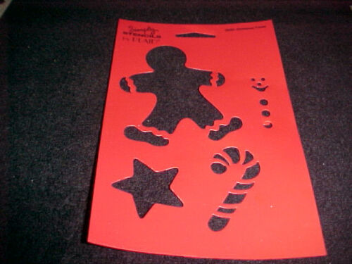 Christmas Stencils Stocking Gingerbread Man Mitten Candy Cane Holy 4 Stencils