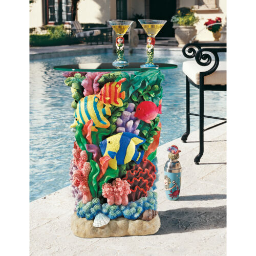 Ocean Reef Bright Fish Coral Shells Glass Top Side Occasional Cocktail Table