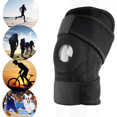 Adjustable Strap Elastic Patella Sports Support Brace Black Neoprene Knee GA GA