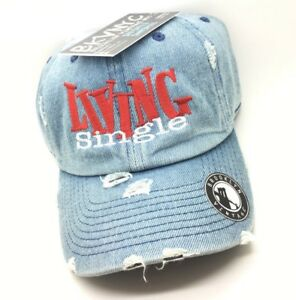 Image is loading Denim-Distressed-Living-Single-Dad-Cap-Hat 9cb8419253f