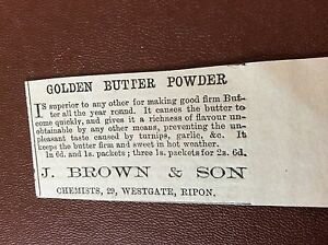 m74 ephemra 1885 advert j brown amp son golden butter powder - <span itemprop=availableAtOrFrom>Leicester, United Kingdom</span> - Returns accepted Most purchases from business sellers are protected by the Consumer Contract Regulations 2013 which give you the right to cancel the purchase within 14 days after the da - Leicester, United Kingdom