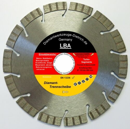 LBA/_Diamanttrennscheibe Ø 125x22 mm Segm.H 15mm Beton Stahlbeton Universal