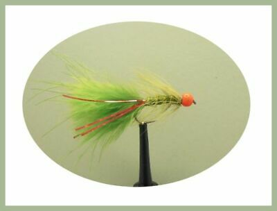 6 x Goldhead Black Red Flash Size 10 Barbless Flash Damsels Fishing Flies