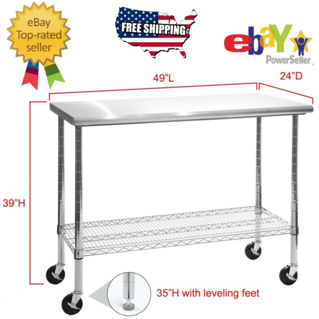 Rolling Stainless Steel Top Work Table Kitchen Cart Workbench Shelving 49