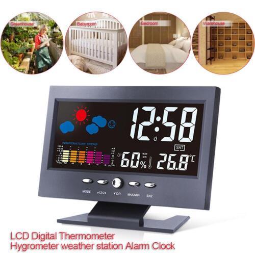 LCD-Display Digital Thermometer Hygrometer Wetterstation Wecker mit Kalender Neu