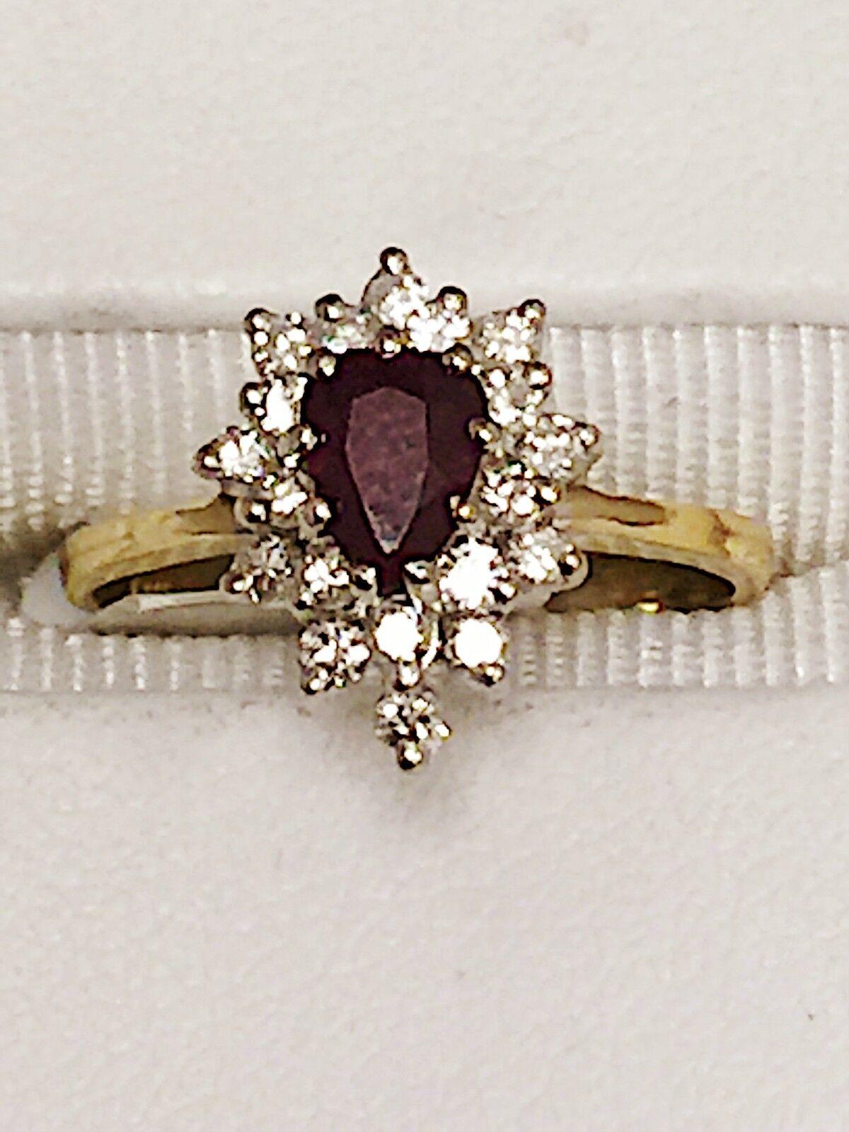 ESTATE FACETED RUBY & DIAMOND RING 14K KARAT YELLOW gold  3 4 CARATS  2.9 Grams