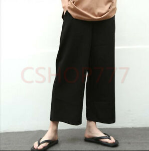 Hot-Sale-Boys-Mens-wide-Leg-pants-trousers-Casual-loose-fit-leisure-Black-summer