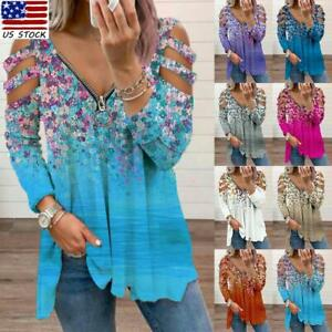 Women Cold Shoulder Long Sleeve Floral Top Blouse Ladies Casual Pullover T-shirt