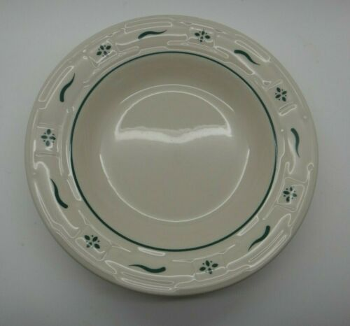 """LONGABERGER POTTERY WOVEN TRADITIONS HERITAGE GREEN RIMMED SOUP BOWL 8/"""""""