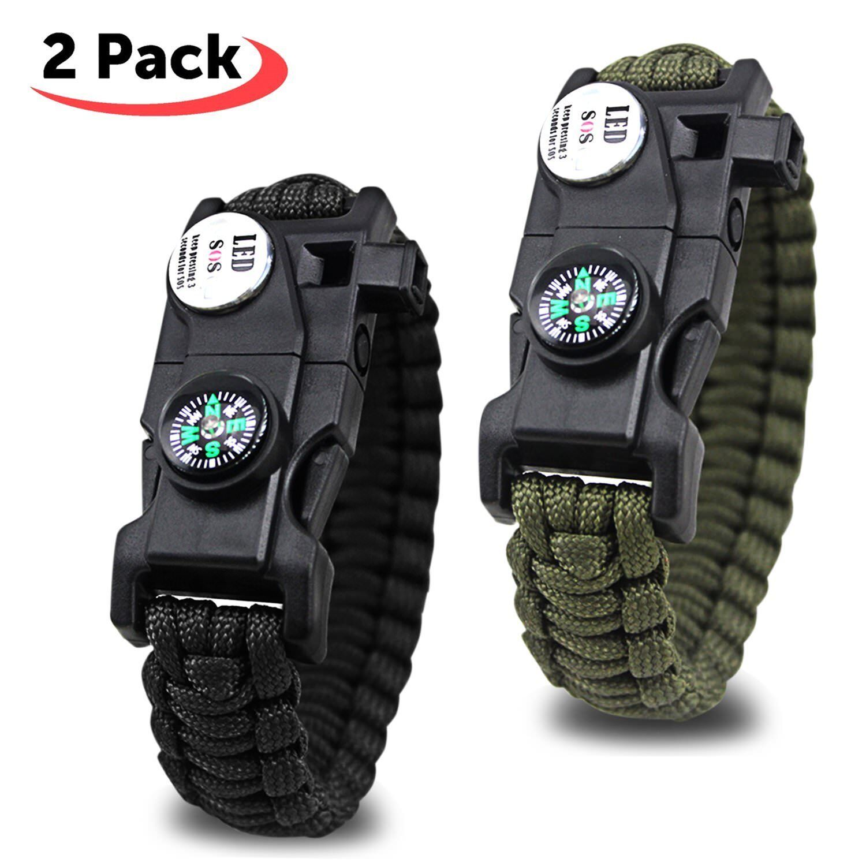 2 Bracelet Survival 20 en 1 Light LED Whistle Compass Flint Etc Hiking