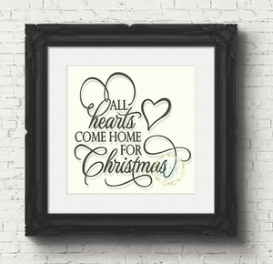 DIY V71 All Hearts Come Home For Christmas Vinyl Decal Sticker Box Frame