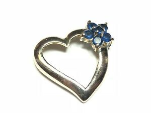 925-Sterling-Silver-Heart-Shape-Pendant-Blue-Stone-Flower-Signed-A