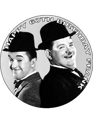24 X LAUREL /& HARDY RICE PAPER CAKE TOPPERS