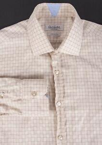 Robert-Graham-Shirt-Beige-Check-Tailored-Fit-Size-15-5-39-F0606a6