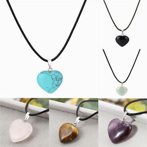Healing-Point-Chakra-Heart-Natural-Stone-Quartz-Crystal-Leather-Pendant-Necklace