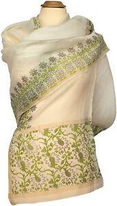 Schal-Baumwolle-Seide-Foulard-Gruen-Sommer-scarf-stole-cotton-silk-summer