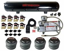 """Air Compressors 400 Pewter 3/8"""" Valves 2500 Air Ride Bags Black 7 Switch & Tank"""