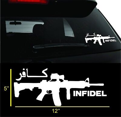 INFIDEL Assault Rifle Decal Sticker AR15 NRA Pro Gun Ammo Truck Window Laptop