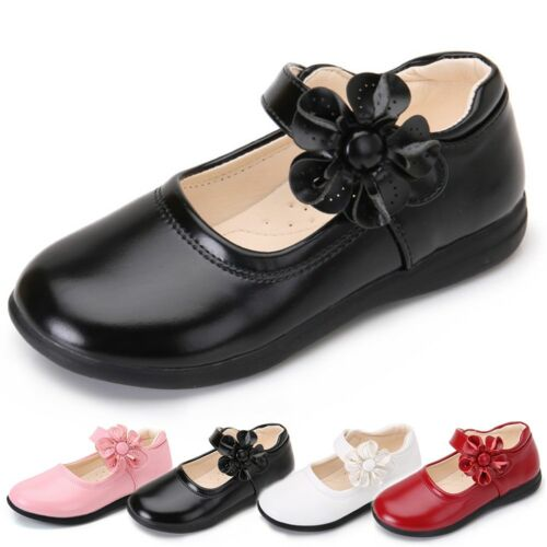 Girl's Leather Flower Bow Mary Jane Student School Shoes Flats Princess Dress hd