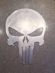 10 inch punisher skull emblem logo metal wall art stencil aluminum