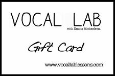 """Voice Lesson Gift Card Value $60, from """"Vocal Lab"""" In Glendale CA"""